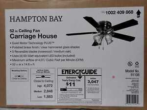Hampton Bay Carriage House 52 in. LED Indoor Polished Brass Ceiling Fan