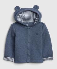 Baby Gap Boy Brannan Bear Quilted Hoodie Sweatshirt Dark Blue Heather 18-24M Htf