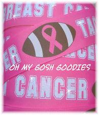 1.5 BREAST CANCER AWARENESS TACKLE FOOTBALL GLITTER GROSGRAIN RIBBON CHEER 4 BOW