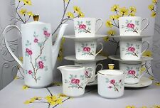 Lovely vintage Seltmann Weiden COFFEE / ESPRESSO SET. Coffee pot. Pink Roses.
