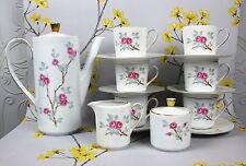 Lovely vintage Seltmann Weiden porcelain COFFEE SET including pot. Pink Roses.