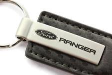 Ford Ranger Gun Metal CF Carbon Fiber Leather Key Chain Ring Tag Fob Lanyard