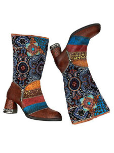 Mixed Print Colorful Patchwork Tall Boots EU 39 US 8 Boho Hippie Funky Zipper