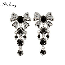 Vintage Luxury Big Black Bow Earrings For Women Evening Ball Antique Silver 2017