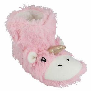 GIRLS SPOT ON PINK WARM UNICORN INDOOR HOUSE NOVELTY BOOTEE SLIPPERS  X2R111