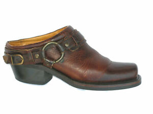 Frye Western Belted Harness Mule Slides Wm Sz 7.5 M Brown Leather Slip-On $298