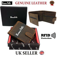 MENS DESIGNER BUONO PELLE RFID BLOCKING LEATHER WALLET CREDIT CARD COIN PURSE