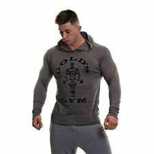 Golds Gym Men's Long Sleeve Grey Printed Hoodie Tee - Size: XL