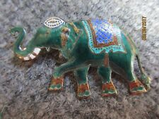 VINTAGE SIAM STERLING ENAMELED ELEPHANT PIN/BROOCH-UNIQUE