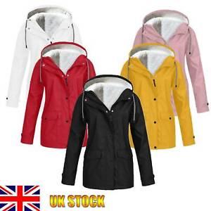 Women Windproof Waterproof Raincoat Ladies Fleece Lined Coats Jacket Winter Warm