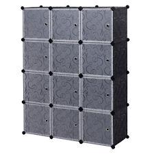 12 Cube Portable Closet Storage Organizer Clothes Wardrobe Cabinet W/Doors