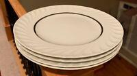 "Princess China ELEGANCE platinum 10 5/8"" Dinner Plates Set of 4"