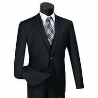 VINCI Men's Navy Blue 3 Piece 2 Button Slim Fit Suit w/ Matching Vest NEW