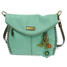 New Chala Charming Crossbody Bag Pleather Metal DRAGONFLY Teal Green Convertible