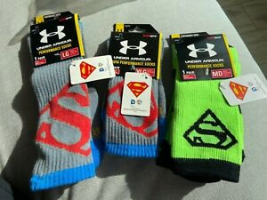 Under Armour Super Hero Crew Performanc Socks Superman MENS and Youth Sizes New