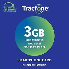 Tracfone Prepaid Wireless Smartphone 1 Year (365 Days) Plan + Sim - Refill.