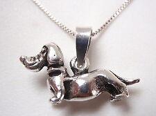Dachshund 925 Sterling Silver Pendant w/ Movable Head Corona Sun Jewelry pet dog