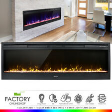 """58"""" Electric Fireplace Heat Insert Wall Heater Adjust 3D Crystal Flame +Remote"""