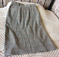 Vintage wool dogtooth checked skirt by St Michael M&S Size 14 Beige brown green