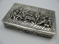 Tabatiere Schnupftabakdose mit Wirtshausszene um 1880 aus 800 Silber
