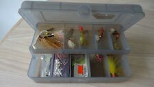 Vintage Plano 2 Tier Tackle Box Fly Fishing with Tackle KastMaster H&H Ball Head