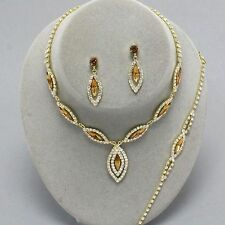 Topaz gold tone diamante necklace bracelet earring set sparkly prom bridal 0217