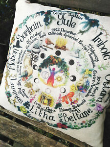 Cushion cover wheel of the year home decor scatter Pagan Wicca gardening shamani