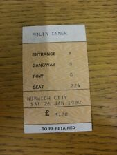 26/01/1980 Ticket: Wolverhampton Wanderers v Norwich City [FA Cup] . Footy Progs