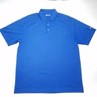 Nike Swoosh Golf Fit-Dry Solid Blue Short Sleeve Polo Shirt Men's XXL 2XL