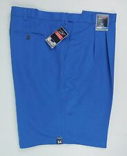 NWT Rountree & Yorke Classic Fit Pleated Expander Waist Shorts Big 54 Blue $46