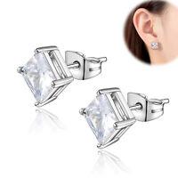 Square Princess Cut Cubic Zirconia CZ Stainless Steel Stud Earrings Men Women