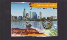 2009 Celebrate Australia Western WA $1 Coin Perth Swan River Kangaroo Floral