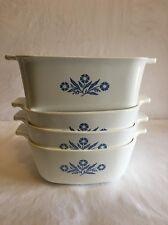 Vtg 4 Corning Ware Blue Cornflower Casserole Dish Bowls