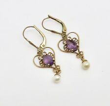 A Nice Victorian Style Pair of 375 9ct Gold Amethyst & Pearl Dropper Earrings
