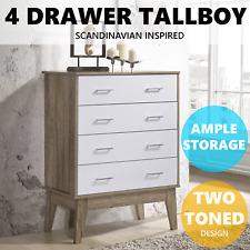 E-Living Furniture Nobu Tallboy 4 Chest of Drawers Bedroom Storage - White