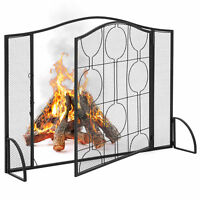 BCP Single Panel 40x29in Steel Mesh Fireplace Screen w/ Locking Door