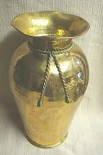 "LARGE 12"" Hammered BRASS URN w/ Braided Ribbon Detail - Handcrafted in India"
