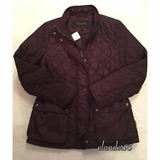 New Coach F84993 Womens Diamond Quilted Jacket Outerwear Coat Black Violet Sz S