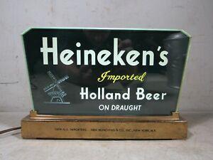 Vintage 1940s Heineken Beer Price Brothers Glass Lighted Halo Sign