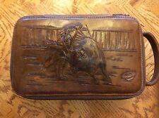 Vintage Tooled Leather Toiletry Bag Men Dopp Kit @ Matador and Bull Fight Scene