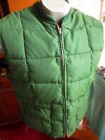 SMALL TRUE VTG 70's PIONEER GREEN/RED REVERSIBLE Down Puffer Ski Vest Jacket USA