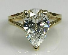 3Ct Latest White Pear Diamond Beauty Wedding Engagement Ring 14k Yellow Gold FN