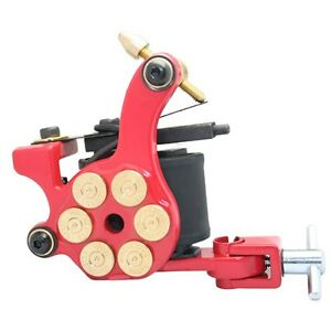 RED Bullet chamber PROFESSIONAL TATTOO MACHINE for power supply gun clip cord