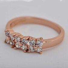 Wedding Vintage Fashion Rose GF Clear crystal 3-Flower Clover Band Ring Size 6