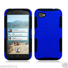 HTC First AT&T Mesh Hybrid Hard Case Skin Cover Blue Black