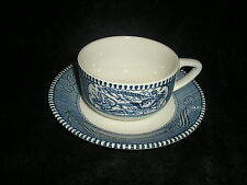 Royal China Currier & Ives Vintage Blue Horse Buggy Cup & Steamship Saucer Set