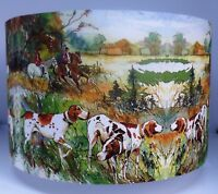 Hunting lampshade, shabby chic,hounds,dogs, horses, riding, vintage FREE GIFT