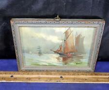 Vintage Harry G Aitken Water Ship Boat Scene Painting On Board Framed Signed !