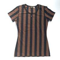 Fendi Vintage Pequin Striped Short Sleeve Top Brown Black Pile Size L Authentic