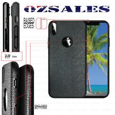 iPhone X 8 7 6 6s Plus Black Tpu Leather Grain Skin Design Back Case Thin Cover